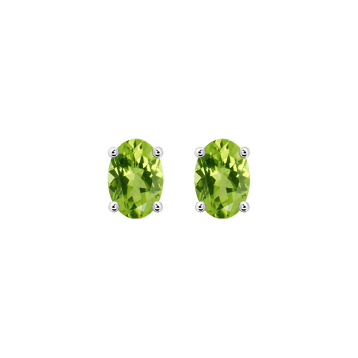 14k Oval Peridot August Stud Earrings