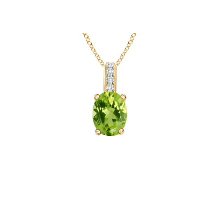 14k Oval Peridot and Diamonds August Birthstone Necklace