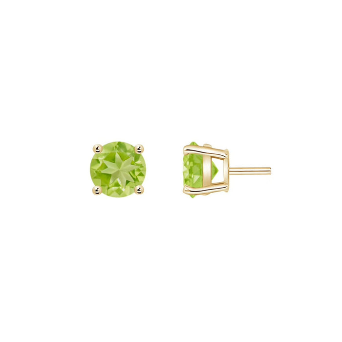 14k Round Peridot August Stud Earrings