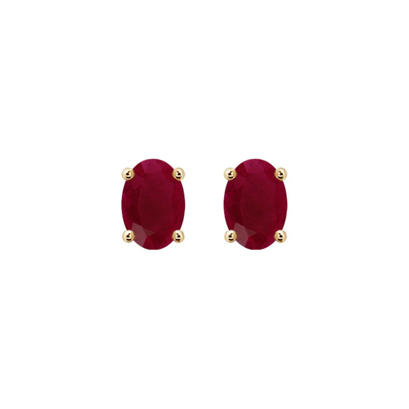 14k Oval Ruby July Stud Earrings