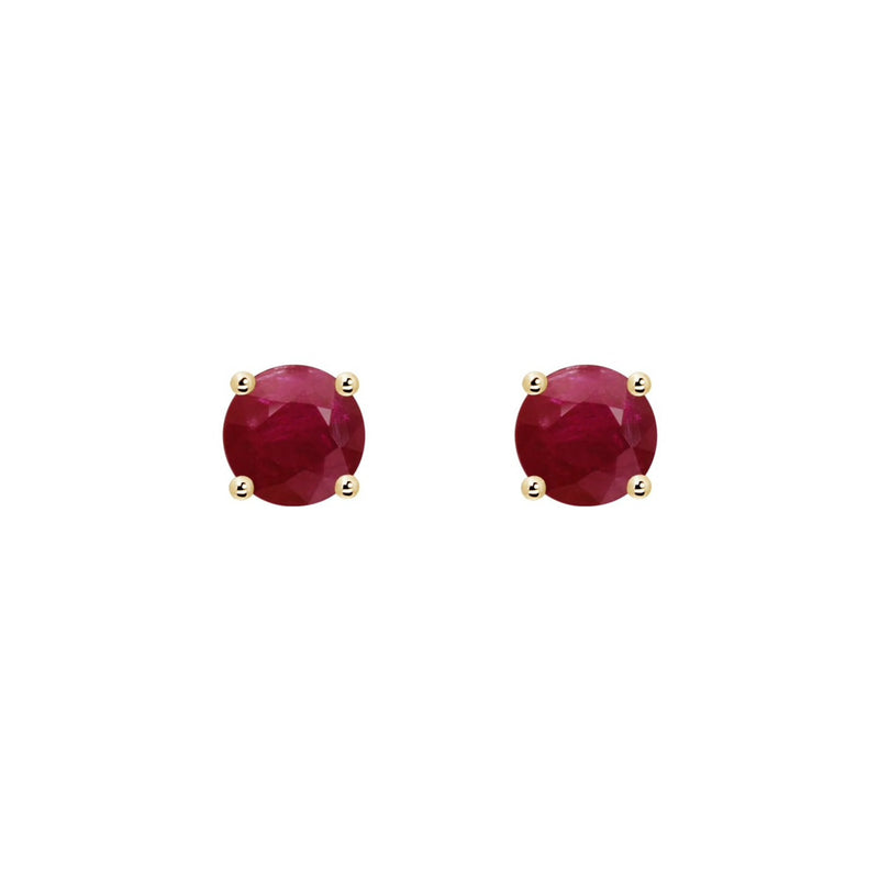14k Round Ruby July Stud Earrings