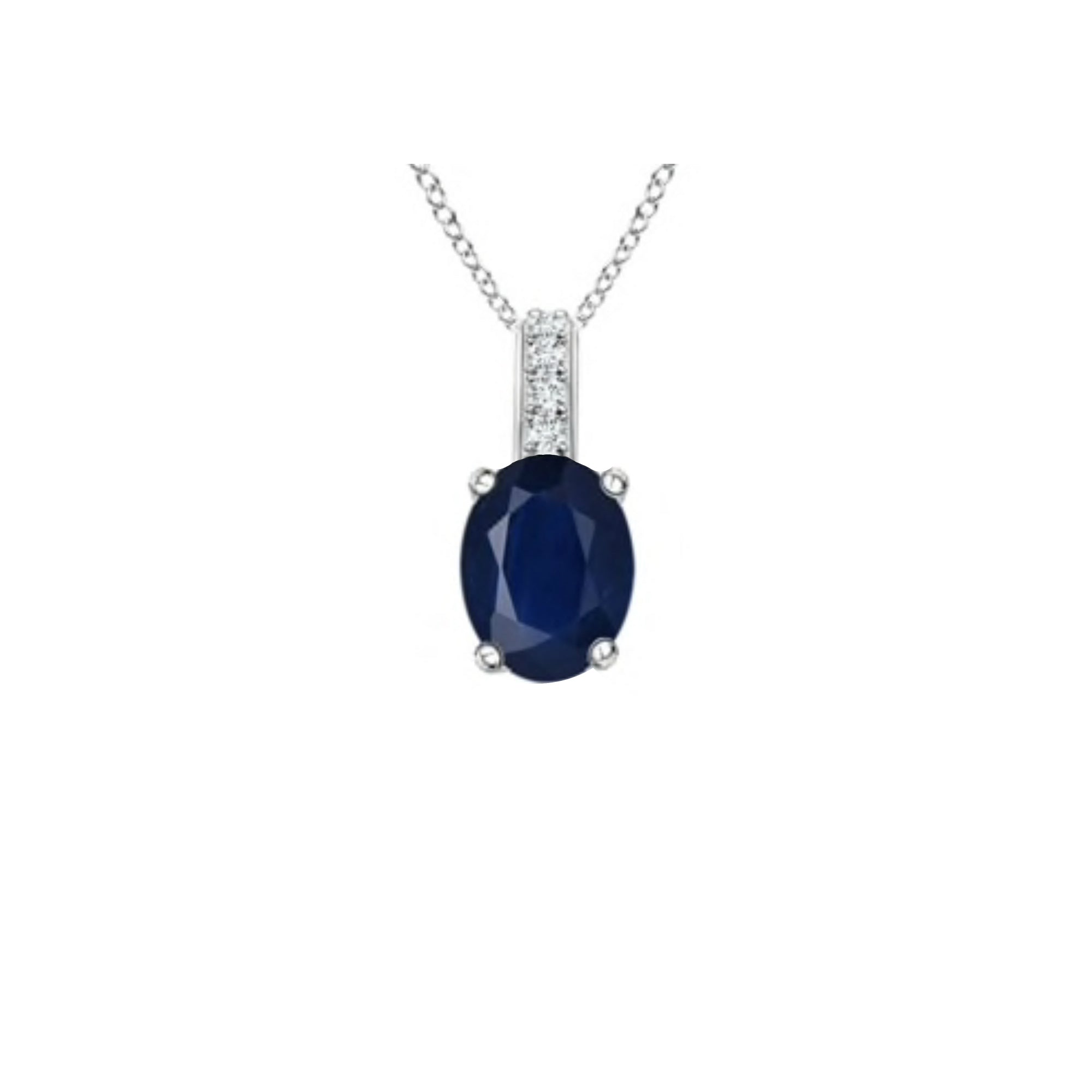 14k Oval Sapphire and Diamonds September Birthstone Necklace