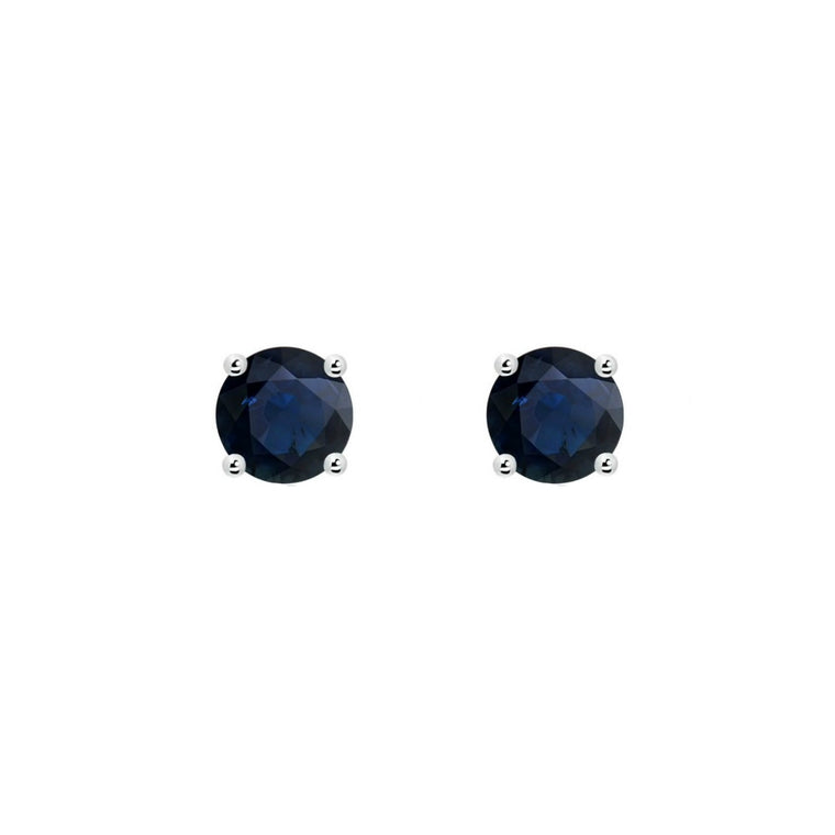 14k Round Sapphire September Birthstone Stud Earrings