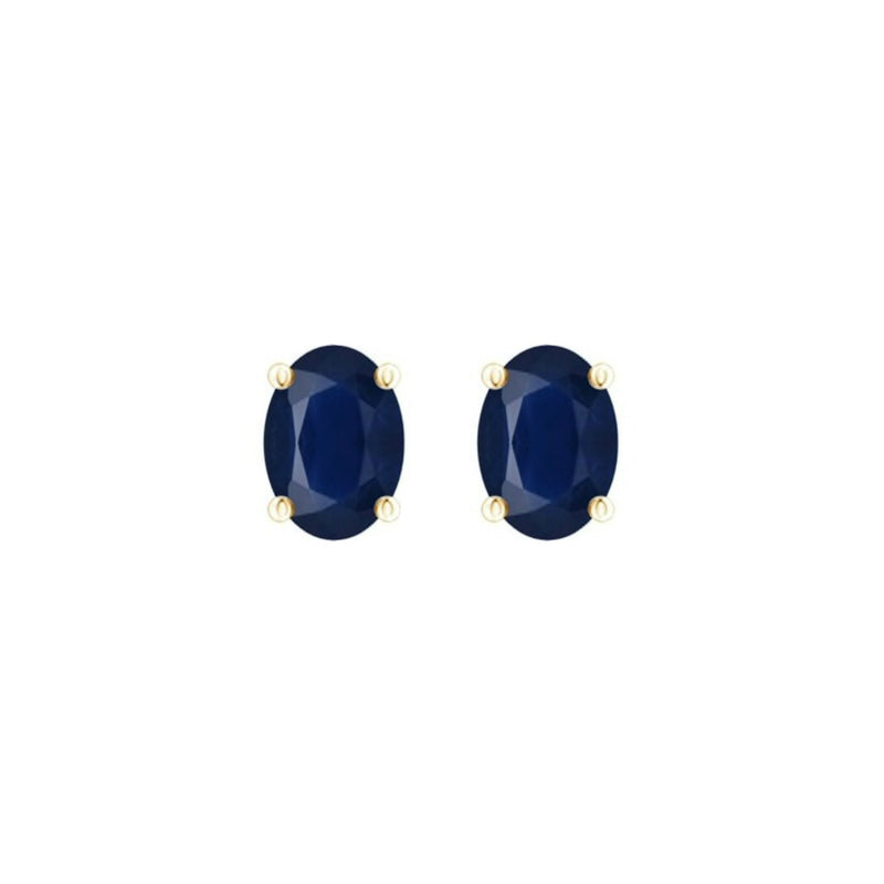 14k Oval Sapphire September Stud Earrings