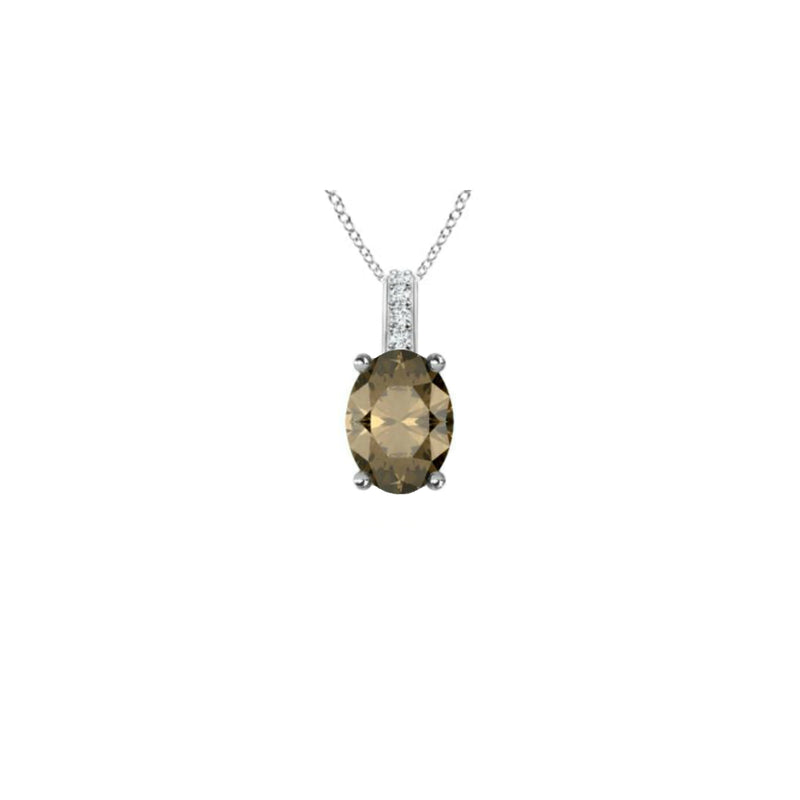 14k Oval Smoky Quartz and Diamonds June Birthstone Necklace