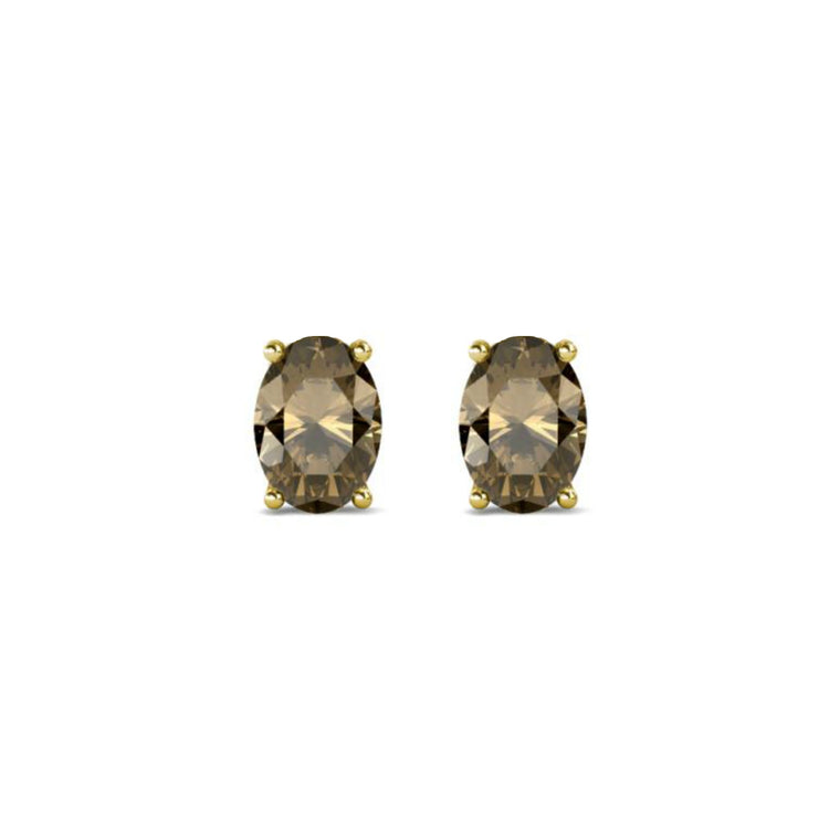 14k Oval Smoky Quartz June Stud Earrings