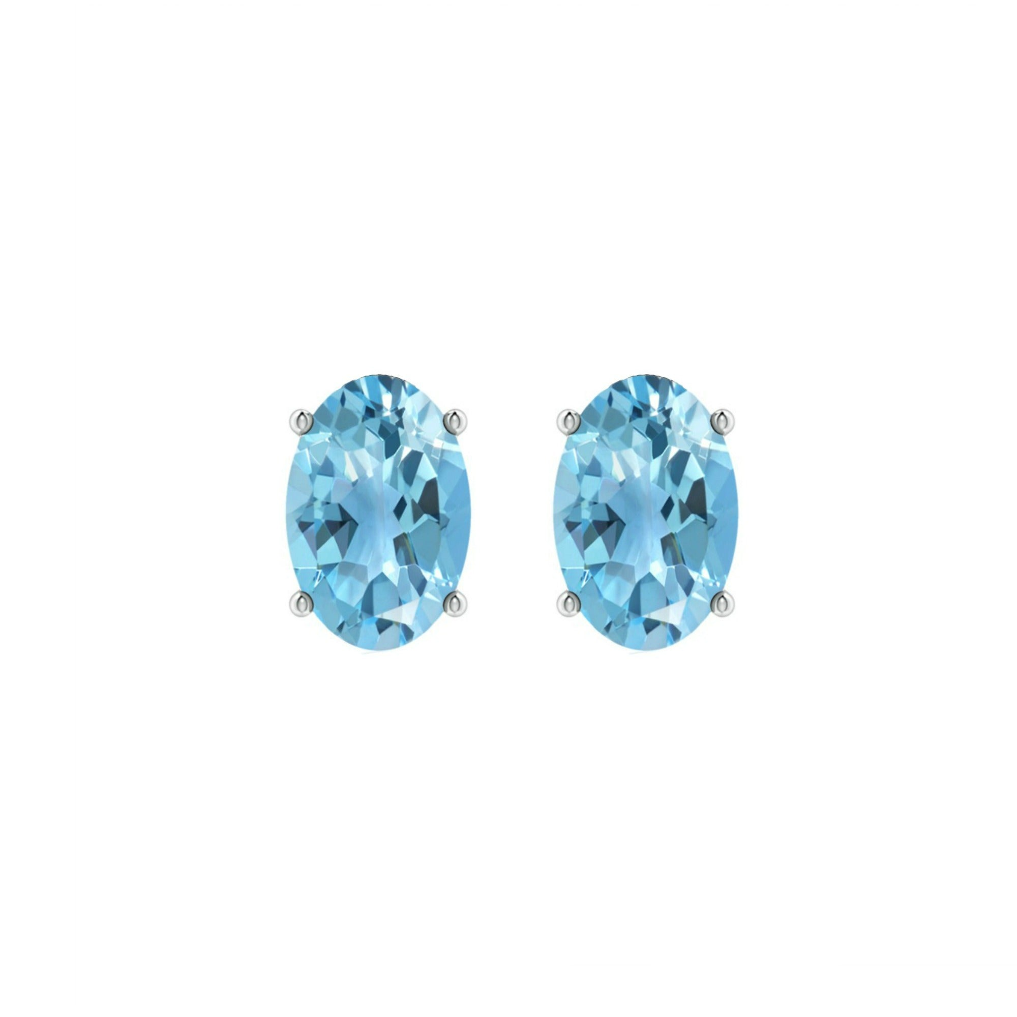14k Oval Swiss Blue Topaz December Stud Earrings