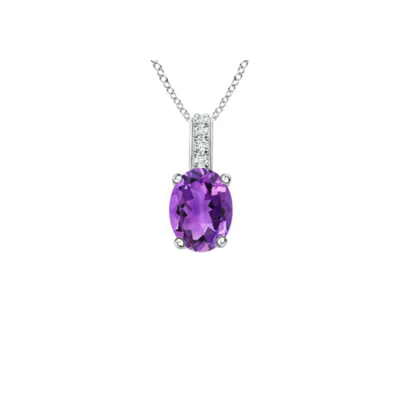 14k Oval Amethyst and Diamonds February Birthstone Necklace