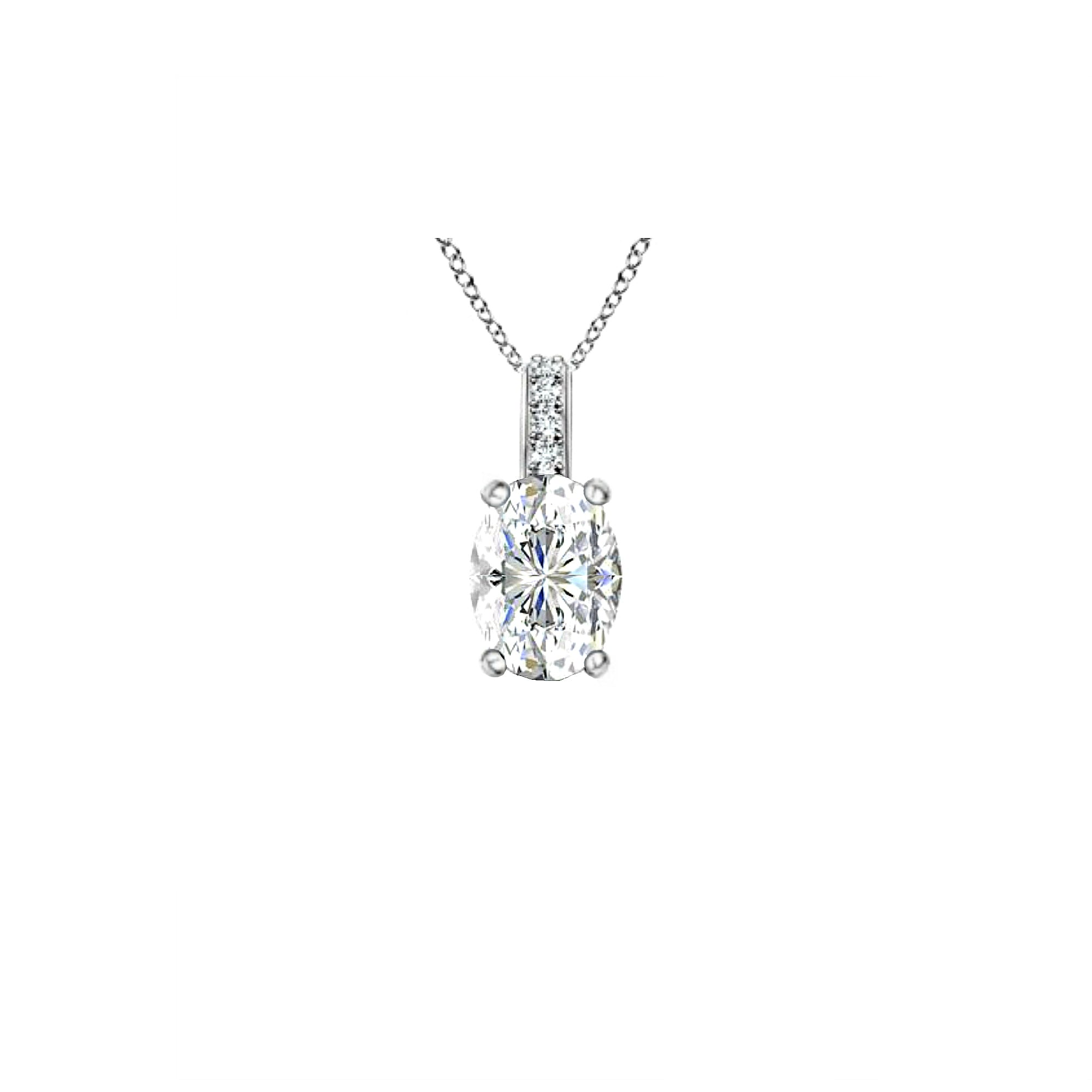 14k Oval White Topaz and Diamonds April Birthstone Necklace