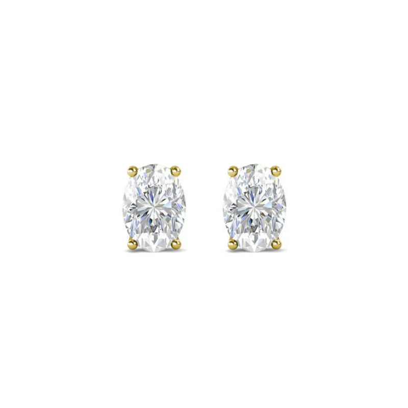 14k Oval White Topaz April Stud Earrings