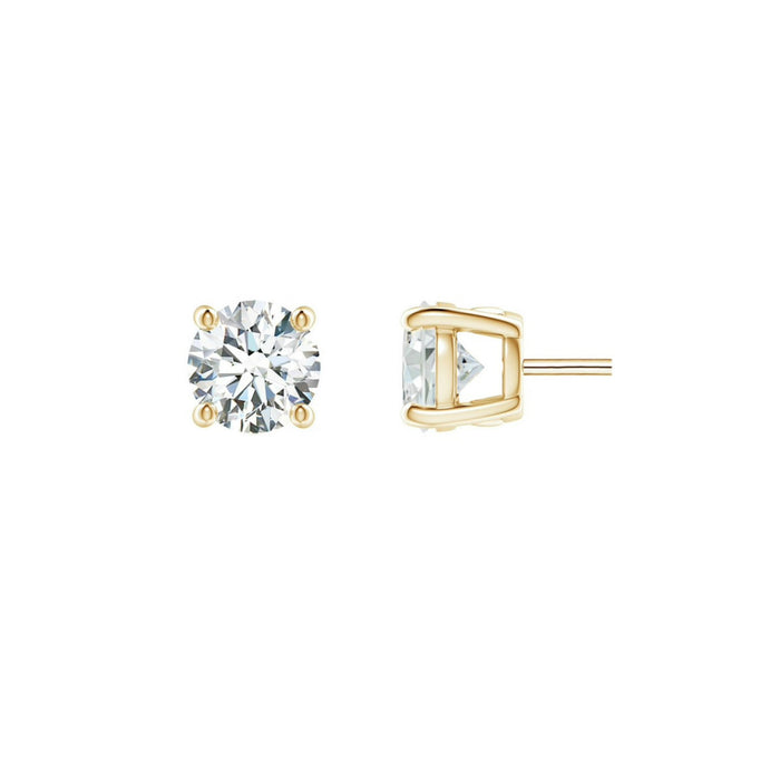 14k Round White Topaz April Stud Earrings