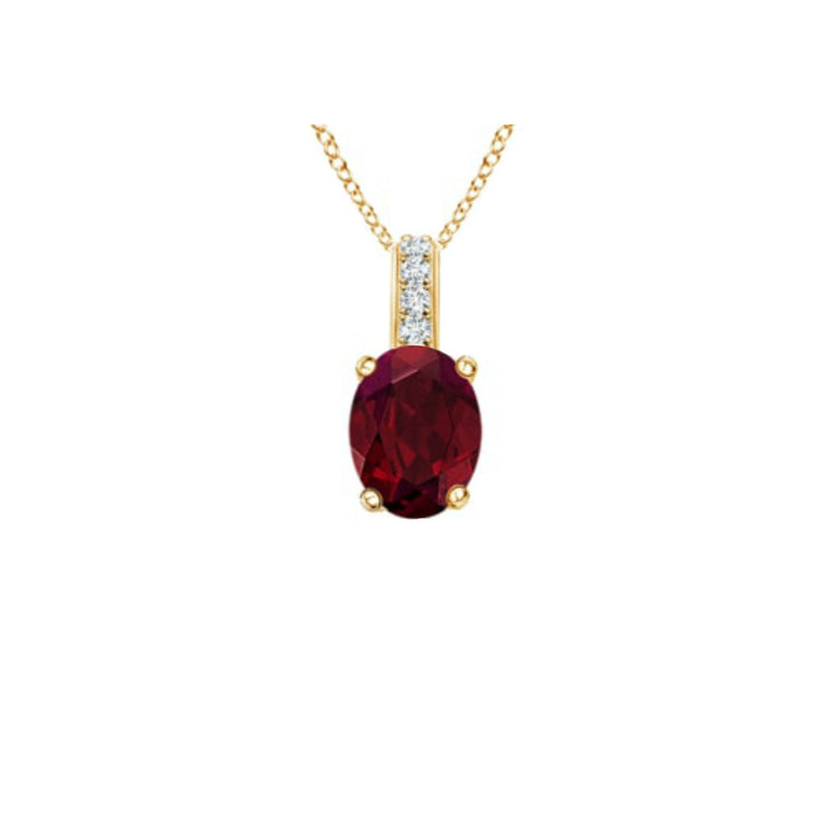 14k Oval Garnet and Diamonds January Birthstone Necklace