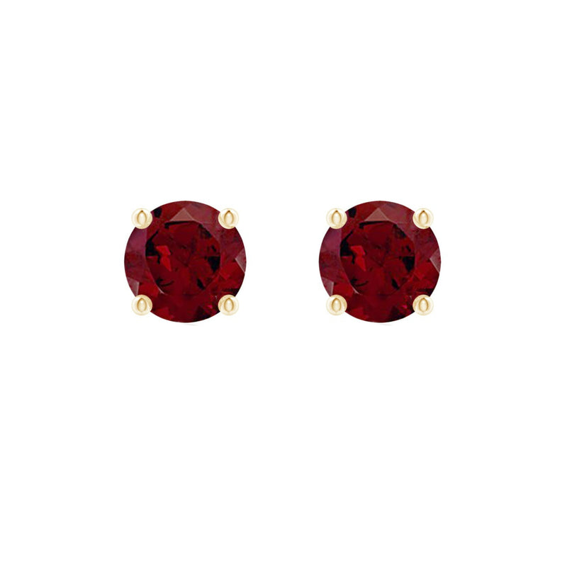 14k Round Garnet January Birthstone Stud Earrings