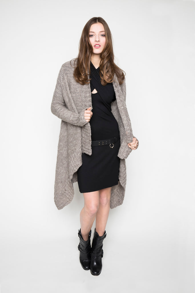 NORDENFELDT dress Sienna black knit cardigan Fee taupe