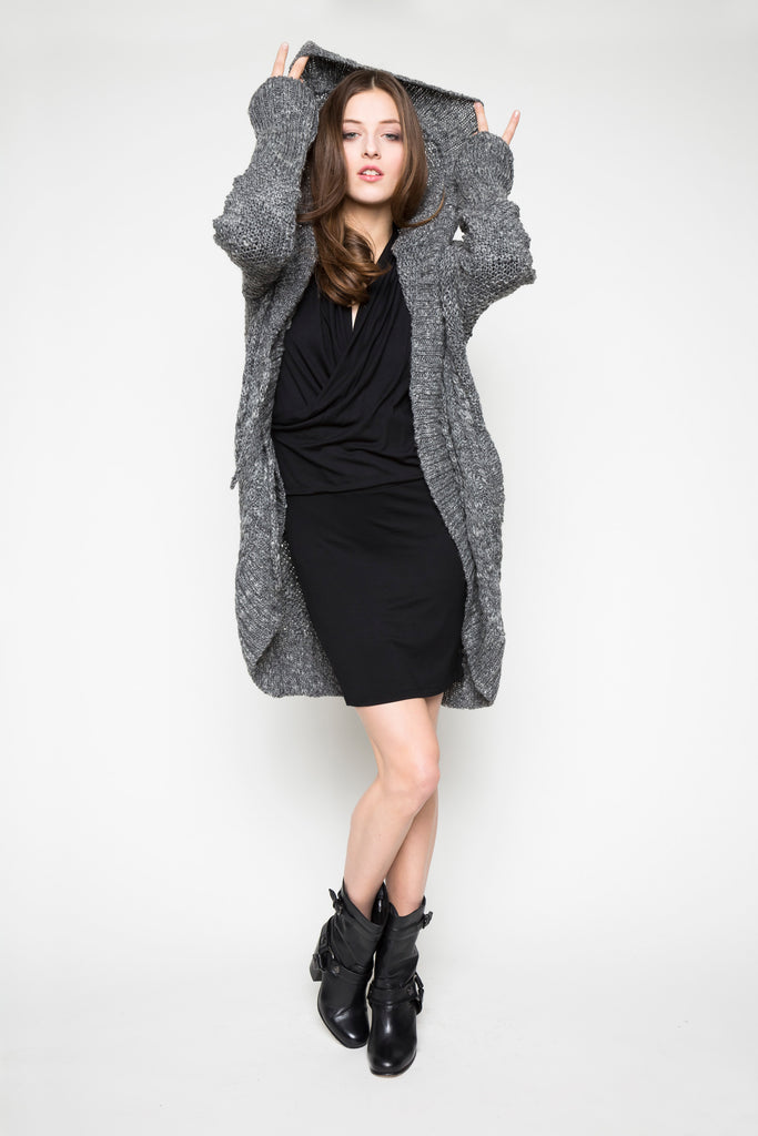 NORDENFELDT Dress Ashley black Knit Cardigan Abeline grey anthra