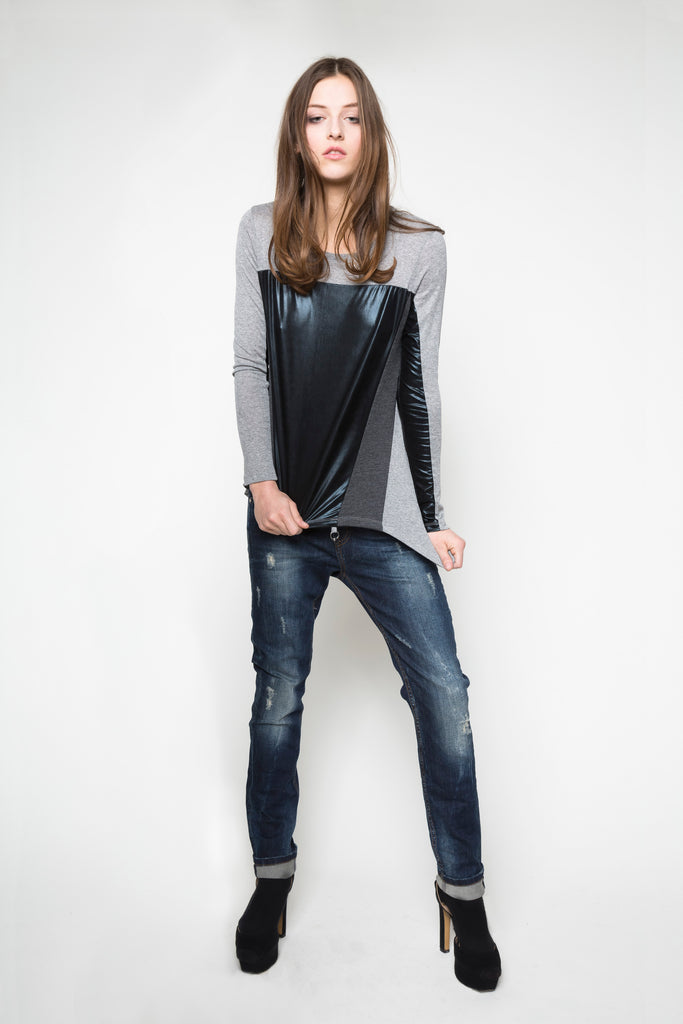 NORDENFELDT Top Isabella grey black shiny Jeans Bowery dark blue washed