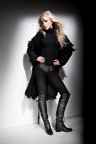 NORDENFELDT leather boots black, leather and metal belt Titania, worn by Tarja Turunen