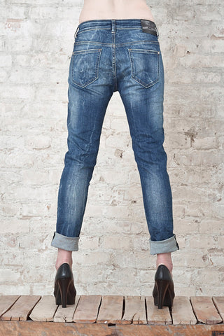 NORDENFELDT Nude Bowery Blue Star, Boyfriend jeans in mid blue with washed effects and used optic, loose fit, made of comfort denim