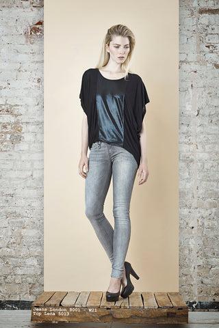 NORDENFELDT Jeans London grey, Top Lena black