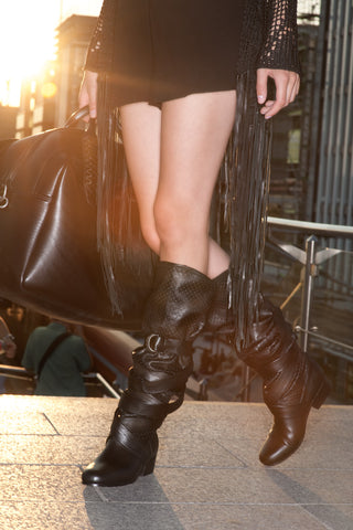 NORDENFELDT black leather boots, biker details