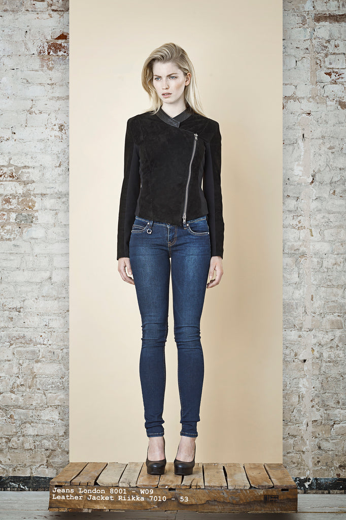 NORDENFELDT Jeans London dark blue, suede leather jacket Riika black