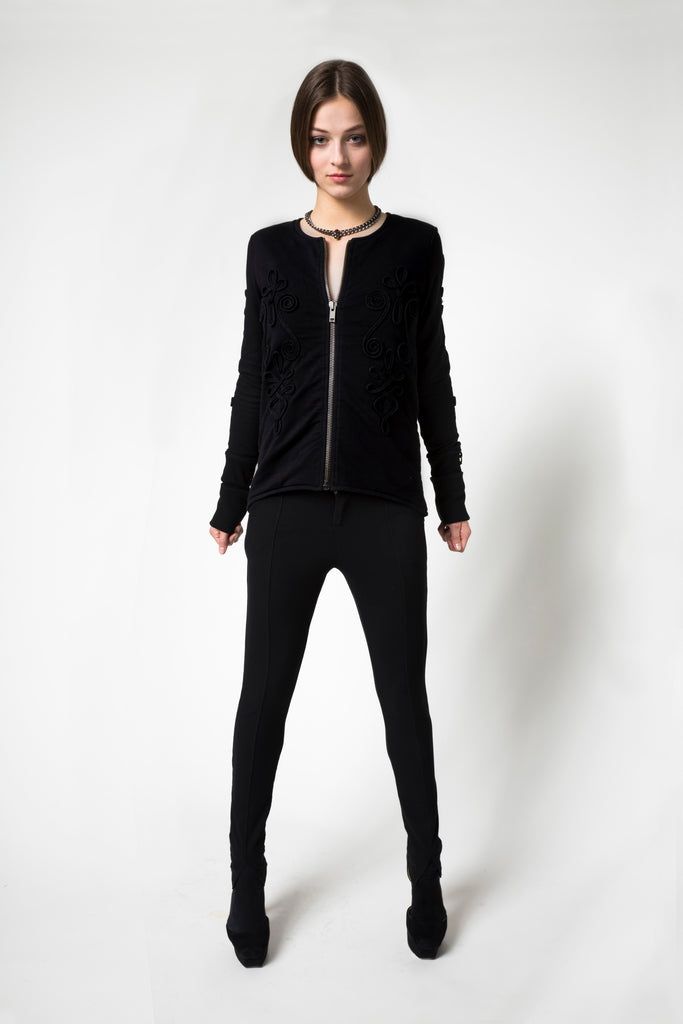 NORDENFELDT Sweat Jacket Lena black bordure sweat trousers Base black chunky necklace silver