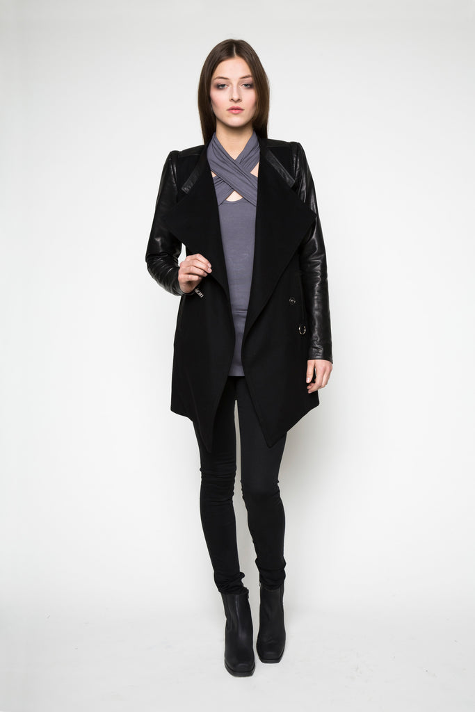NORDENFELDT Top Amber lilac Wool Leather Coat Ana black Jeans London high waist black