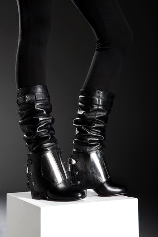 NORDENFELDT black leather boots, removable spats