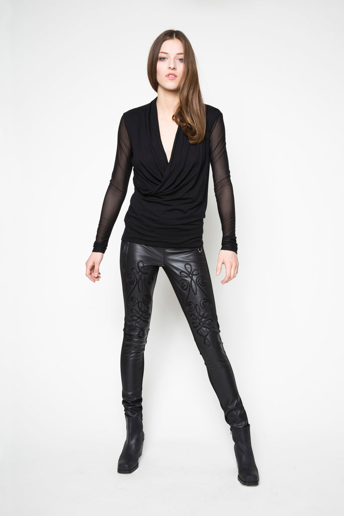 NORDENFELDT Top Faith Net black Leather trousers Madison black bordure