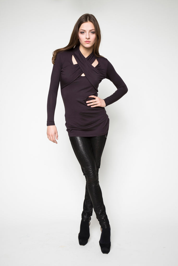 NORDENFELDT Top Amber plum berry Leather trousers Meg black croco
