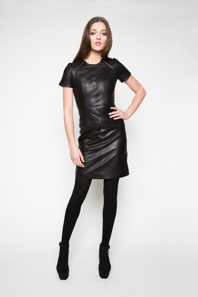 NORDENFELDT Leather Dress Ida black biker dress