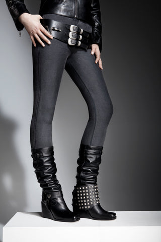 NORDENFELDT black leather boots, biker details, removable spats