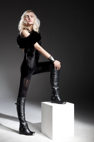 NORDENFELDT black leather boots, Wristlet Auro, leggings Elina Mask black, worn by Tarja Turunen