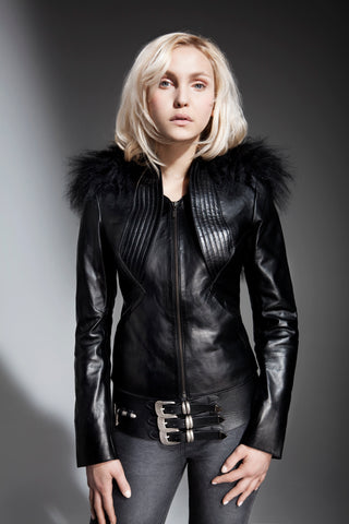 NORDENFELDT black leather jacket, leather belt Rena, worn by Tarja Turunen