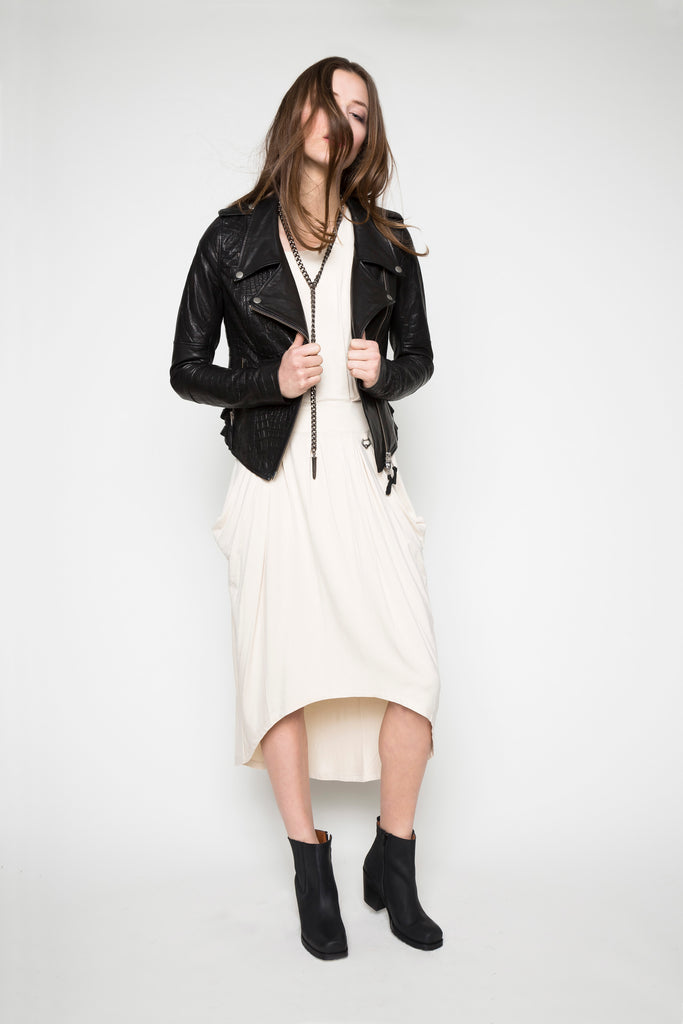 NORDENFELDT Dress Ella nude Leather Jacket Nia black Croco