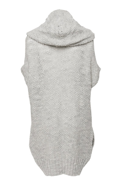 NORDENFELDT Abbie, knitted cardigan vest with hood in light grey, 100% Wool