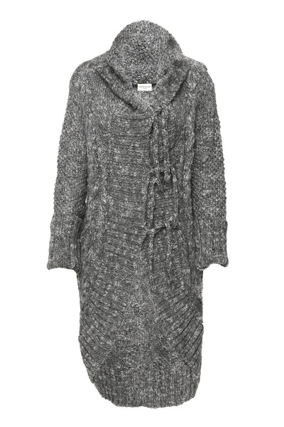 NORDENFELDT Abeline, knitted cardigan with hood in dark grey, 100% Wool