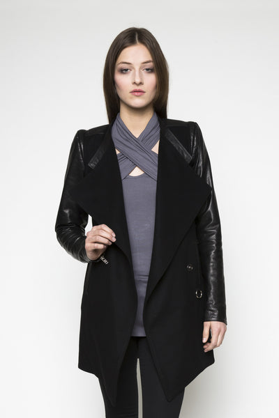 NORDENFELDT Ana, wool and leather coat in black