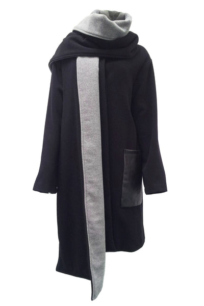 NORDENFELDT Oona, wool and leather coat in black with removable and reversible scarf