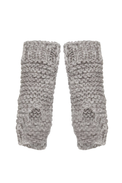 NORDENFELDT Finn, knitted cuffs with thumb hole in light taupe, 100% Wool