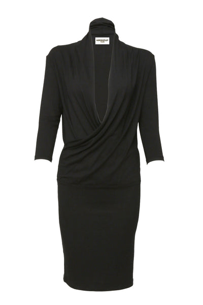 NORDENFELDT Ashley, dress with draped and crossed V-neck in black, tight silhouette