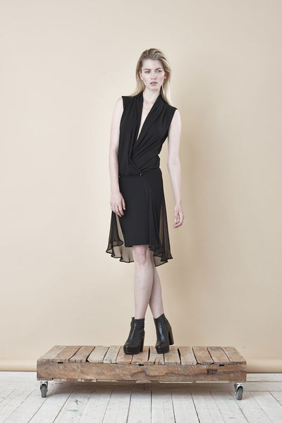 NORDENFELDT Evie, two in one dress with crossed V-neck in black, mid length