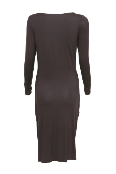 NORDENFELDT Grace, dress in plum with draped pockets and long sleeves