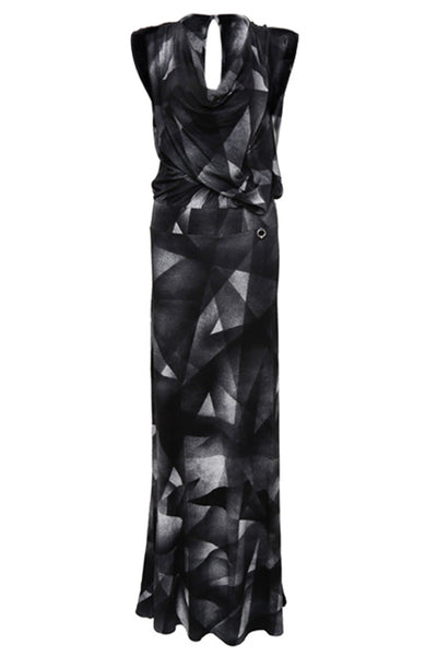 NORDENFELDT Jolin, extra long maxi dress with abstract allover print, draped front and collar in black