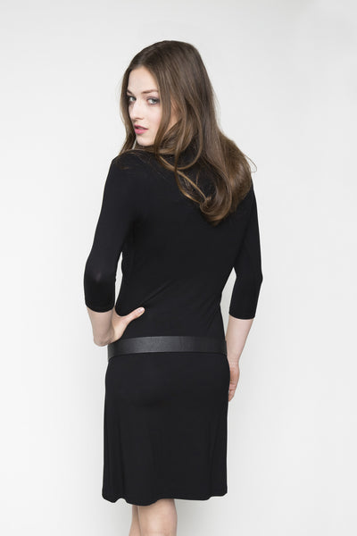 NORDENFELDT Sienna, dress with crossed-over part at the front and 3/4 sleeves in black