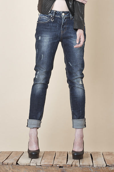 NORDENFELDT Nude Bowery Blue Moon, Boyfriend jeans in dark blue with washed effects and used optic, loose fit, made of comfort denim