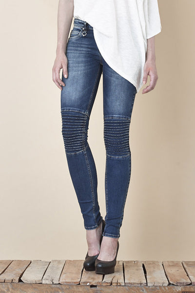 NORDENFELDT Nude Chelsea Atlantic Blue, skinny biker jeans in dark blue with stitched knee detail, power stretch denim