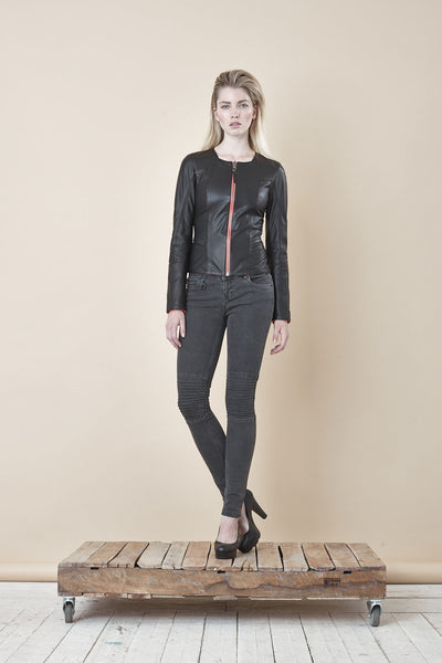 NORDENFELDT Nude Chelsea Black Stern, skinny biker jeans in washed grey with stitched knee detail, power stretch denim