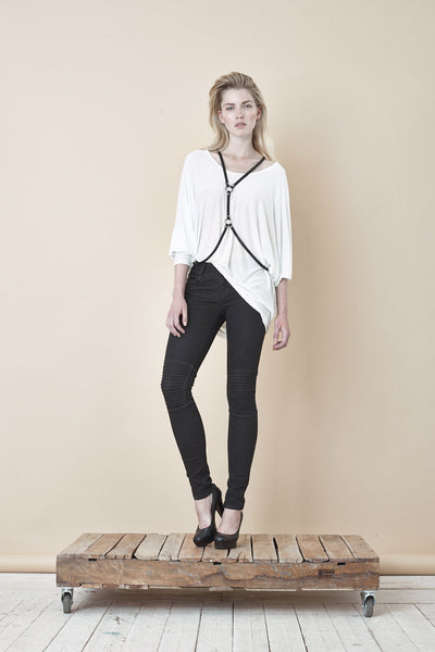 NORDENFELDT Nude Chelsea Phantom, skinny biker jeans in black with stitched knee detail, power stretch denim