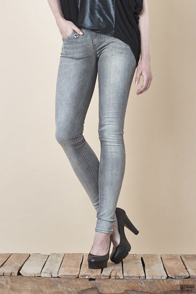NORDENFELDT Nude London Forever Grey, skinny jeans in grey with light washed effect, slim fit, power stretch denim